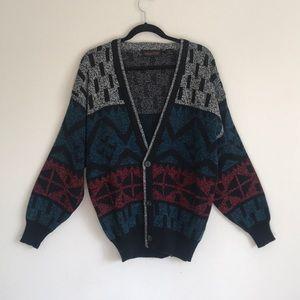 VTG Cardigan Red White Blue Black 80s Style
